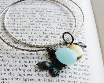 Charm Bangle Bracelets Upcycled Vintage Nature Inspired Brass Locket Metal Black Brass Butterfly Aqua Glass Briolette Bracelets
