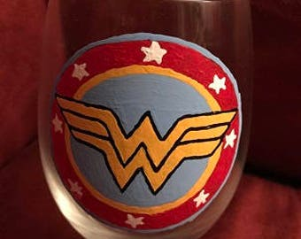 Wonder Woman Hand Painted Glass