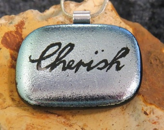 Silver Dichroic Glass Pendant - Dichroic Fused Glass - Contemporary Glass Necklace - Fused Glass Jewelry -
