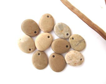 Stone Beads Pebble Beads Mediterranean Natural Beach Stone Beads Top Drilled Rock Pairs Diy Jewelry OATMEAL LOT 21-22 mm