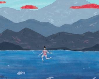Summer Swim print - 8x10