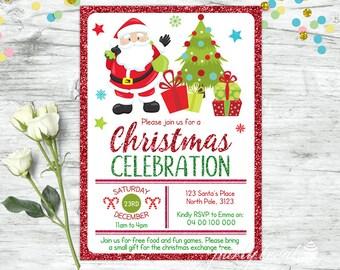 Christmas Invitation, Santa Invitation, Christmas Party Invitation, Christmas Invite Printable, Christmas Invitation Template