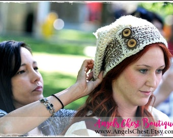 SLOUCHY Hat and Ear Warmers Headband Crochet Pattern Size Preteen to Adult Boutique Design - No. 45 by AngelsChest