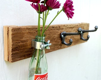 BOTTLE TRIO rustic vase and hook coat rack, organizer for your kitchen, bathroom, entry with soda, pop, coke, pepsi, beer bottle