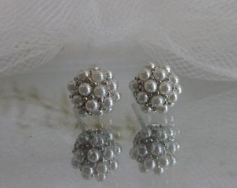 Cluster Pearl Post Earrings, Sterling, June Birthstone, Stud Earrings, Swarovski pearls, Wedding Jewelry, Wedding Earrings, Gifts for her