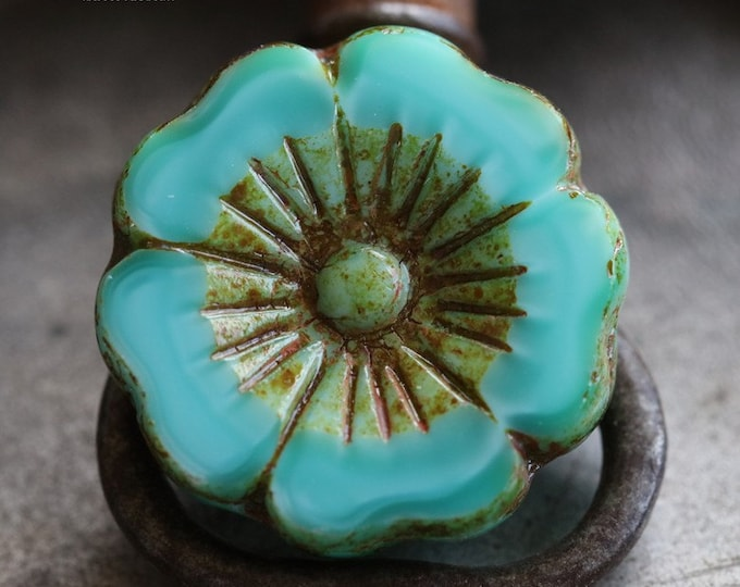 TURQUOISE PANSY No. 2 .. 1  Picasso Czech Glass Flower Beads 22mm (5238-1)