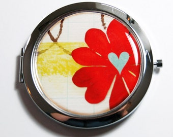 Flower compact mirror, floral mirror, abstract flower, pocket mirror, purse mirror, mirror, compact mirror, heart (2697)