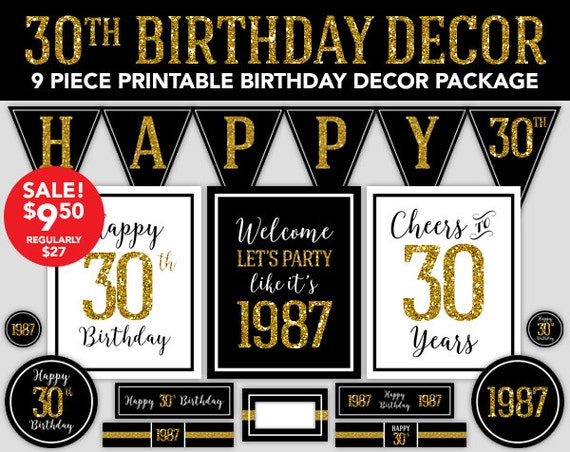 Happy birthday decor 30th birthday 1987 gold glitter for 30th birthday decoration packages