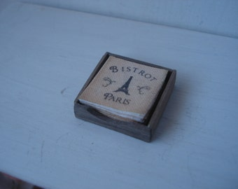 Dollshouse miniature napkins box - miniature kitchen - dollhouse table  - miniature 1:12th scale one inch