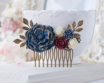 Navy Blue Burgundy Hair Comb, Fall Wedding Bridal Comb, Rustic Vintage Wedding, Antiqued Gold Leaf Floral Hair Piece, Navy Blue Maroon Red