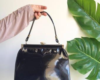 Vintage Faux Patent Leather Black Purse