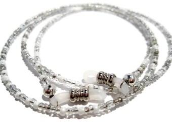 White and Silver Beaded Eyeglass Holder, Glasses Holder, Eyeglass Necklace, Eyeglass Chain, Beaded Glasses Holder, Beaded Eyeglass Holder