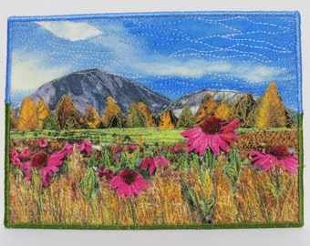 Fabric Art Card, Mini Art Quilt, Textile Card, Mountain Quilt, Trees, Coneflowers, Fabric Collage, Nature Quilt, Quilted Postcard, Handmade