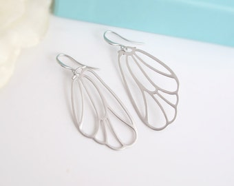 Matte Silver Fairy Wings Earrings. Butterfly Wings. Filigree Earrings. Bridal Wedding Nature Style Ear Jewelry