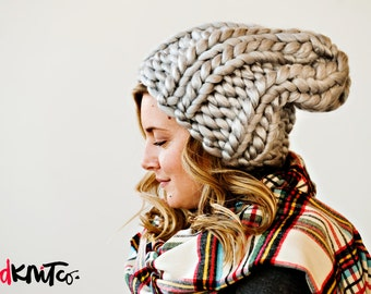 Silver LUXE LONDON hat...Vegan knit hat, hand knit, chunky knit, knit toque, knit beanie, knit hat, vegan knit, vegan gift.