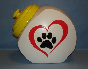 Ceramic Country Store Style Cookie Jar with Paw Print in Heart, Treat Jar, Matte White, Yellow