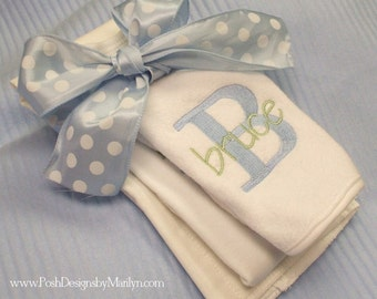 Baby Gift Set of Bib, Burp and Onesie (boy or girl) Monogrammed