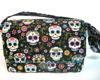 """Large 4"""" Size Coupon Organizer / Coupon Bag /Budget Holder Box Attaches to Your Shopping Cart  Skulls and Flowers Select Your Size"""