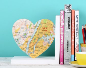 Map Location Heart Bookend - Map home decor - anniversary gift - wedding gift - traveller's gift - NYC map gift - New york city map -