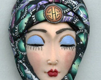 Polymer Clay OOAK   Detailed Asian  Art Doll Face with hat Cab  ASH 2