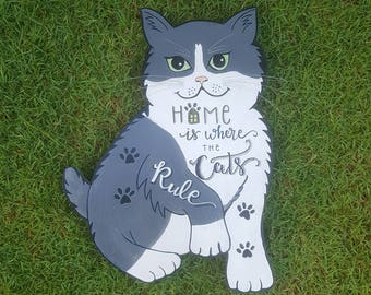 Home Is Where The Cats Are, Cat Lovers, Wall Art, Cat Craft,