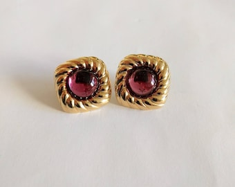 Vintage 80s Avon pink cabochon earrings gold tone square 1986 Spotlight studs posts pierced ears