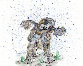 Arte de Cocker Spaniel, perro impresión, sacudiendo arte perro, cocker spaniel regalos, regalos para los amantes del perro, perro colorido arte, arte único de acuarela