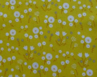 1/2 Yard Organic Cotton Fabric - Cloud 9 Fabrics, Stay Gold, Marigold Pollen