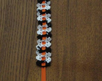 Black Grey and White Crochet Bookmark with Orange Ribbon/Scripture Bookmarker
