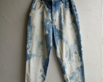 Mom Jeans 80s Bleached High Waist Denim Lee Jeans Hippie Jeans Pants Throw Back Wide Leg Baggy Pants