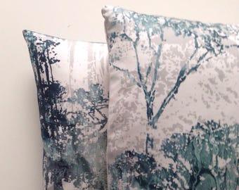 green & blue print cushion cover