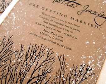 winter wedding invitations rustic wedding invitations tree hand stamped and painted invitation wedding stationery sample invitations