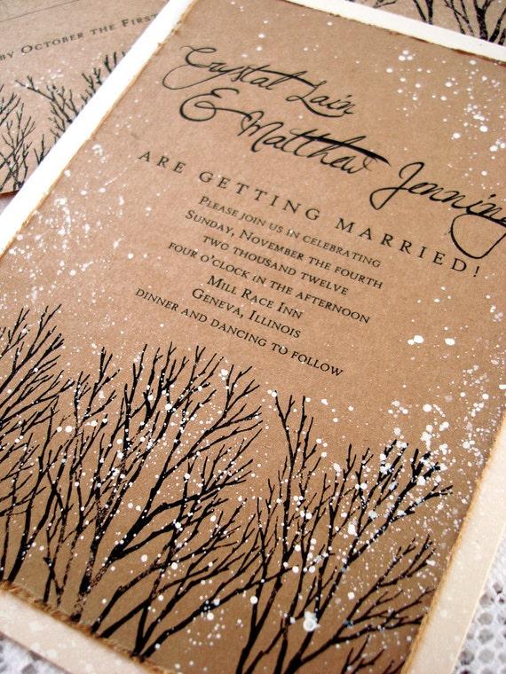 Winter wedding invitations rustic wedding invitations tree stopboris Images