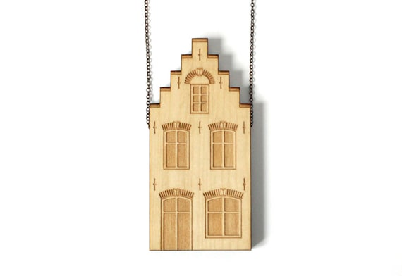 Wooden pendant traditional Dutch house - laser engraved and cut - minimalist - cute - design - Amsterdam - Delft