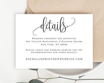 Details card template Details card for wedding Details template Details wedding card Wedding details invitation template Invitation #vm41