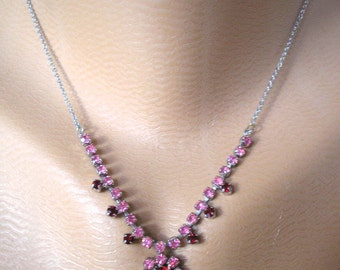 Prom Necklace, Party Necklace, Pink and Red, Vintage Necklace, Wedding Jewelry, Rhinestone Choker, Pink Choker, Valentines, Christmas Gift,