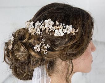Bridal Hair Comb- Wedding Hair Piece, gold hair comb, wedding hair accessories, bridal headpiece, crystal hair piece, floral comb