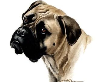 Bullmastiff Art Print by Watercolor Artist DJ Rogers