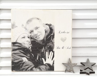 Personalized wooden picture with photo and inscription in cozy country house style