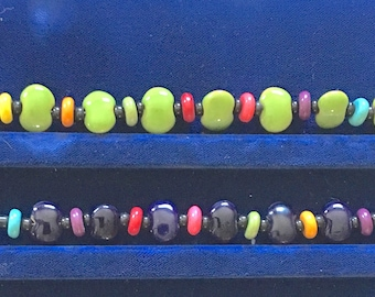 Kazuri Magnetic Bracelet - 7.5 or 7.75 inches - with Howlite - primary colors - opaque - Fair Trade certified beads