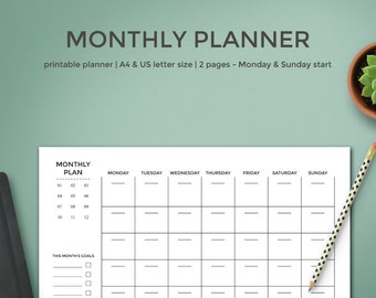 Printable Monthly Planner | Month Planner in A4 and US Letter Size | Monday or Sunday Start | Monthly Organizer | Monthly Planner Printable