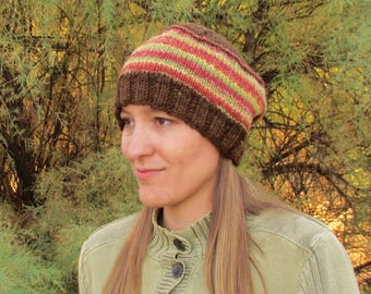 Handspun, Handknit Wool Hat. Fall Colors. Brown/Red/Green/Pink/Yellow. Autumn Style Beanie Cap. OOAK