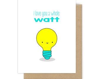 Funny Love Card For Girlfriend Boyfriend Wife Husband Pun Anniversary Cards I Love You Watt Her Him Romantic Birthday Handmade Greeting