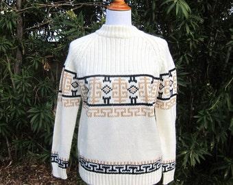 Vintage Aztec Print Sweater Mock Turtleneck Beige Brown S M L