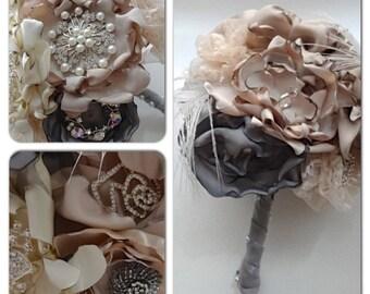 Fabric Flower Bouquet, brooch bouquet, wedding bouquet, vintage wedding,  Vintage Brooch Bouquet, Custom Bouquet, Fabric Flowers,