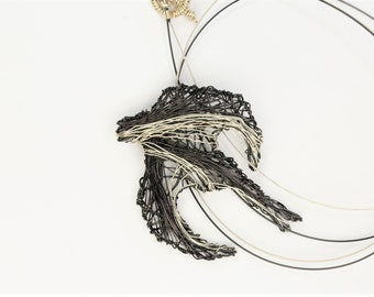 Sparrow necklace, bird necklace, silver black, wire sculpture art, boho, wire animals, Winter Autumn necklace, Art teacher gift for women