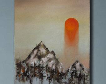 Oil Painting, Canvas artwork, rising sun, original painting, mountain landscape