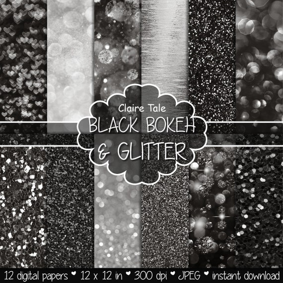 "Black digital paper: ""BLACK BOKEH & GLITTER"" with black glitter background and black bokeh background for photographers and scrapbooking"