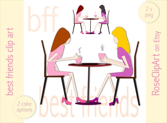 best friends with coffee clip art instant download commercial rh etsystudio com Clip Art bff birthday clipart
