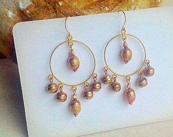 Rose Gold Boho Gypsy Hoops/ Chandiler Hoops/ Tribal  Ethnic Jewelry